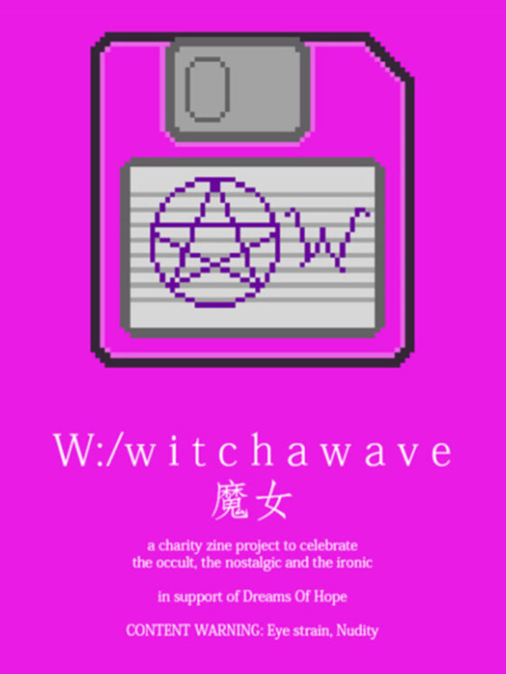 W:/witchawave Front Cover, Bright neon pink with a floppy disk in the centre
