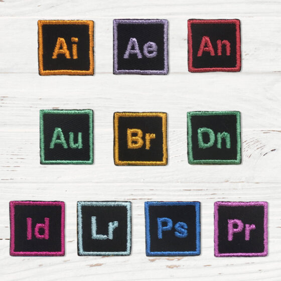 Small patches that represent Adobe Illustrator, After Effects, Animate, Audition, Bridge, Dimension, InDesign, Light Room, Photoshop, and Premiere Pro.