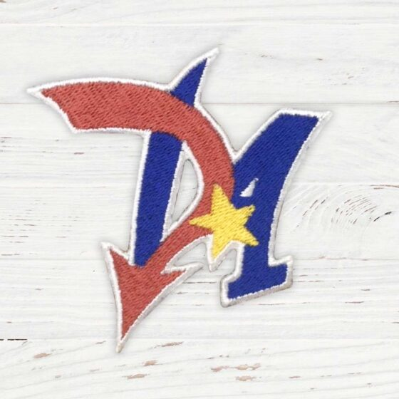 The initials DA are coloured red and blue, with a yellow star in the middle.