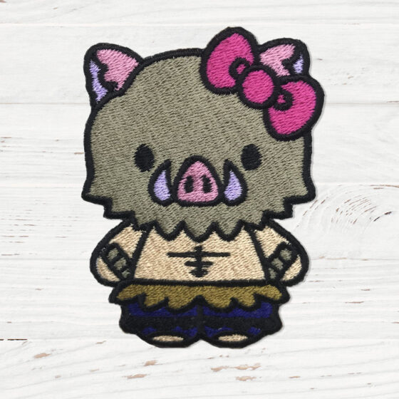 A shirtless man wearing a hog mask in the style of Hello Kitty.