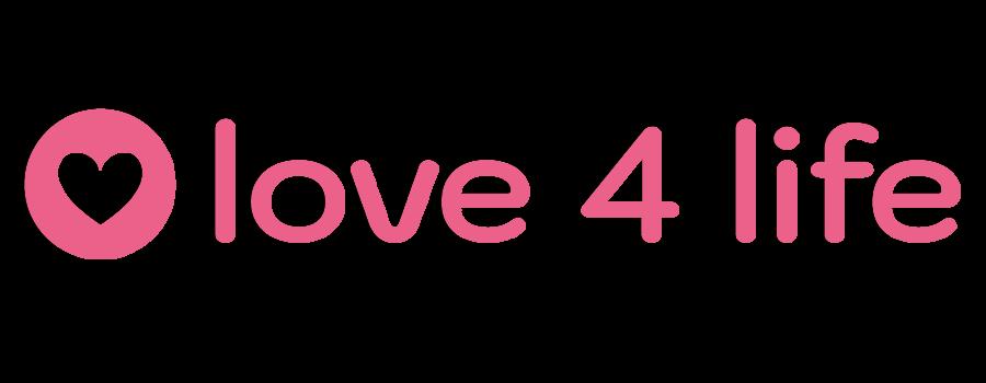 A pink sans serif logo that has a heart in a circle.